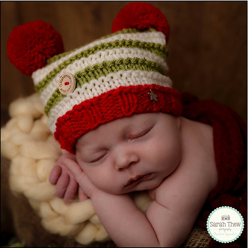 Cherry, olive and cream striped double pompom