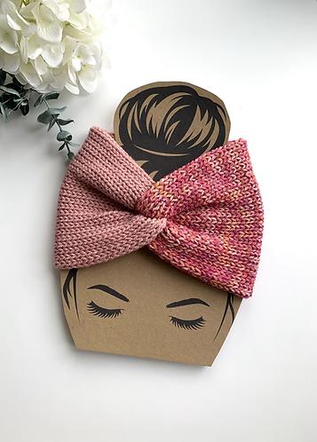Twisted headband, dusky pink tweed mix