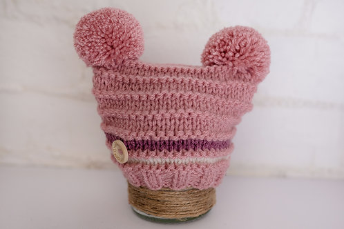 Dusky Pink double pompom with cream and mulberry stripe