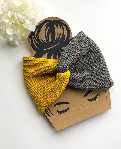 Twisted headband/earwarmer in mustard and grey