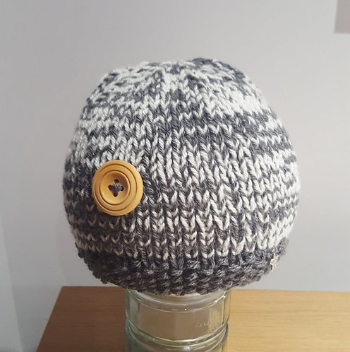 Grey and Cream Beanie with button