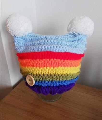 Rainbow double pompom hat