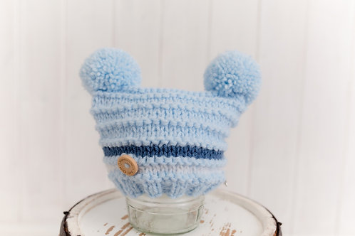 Baby blue double pompom with white and denim stripe