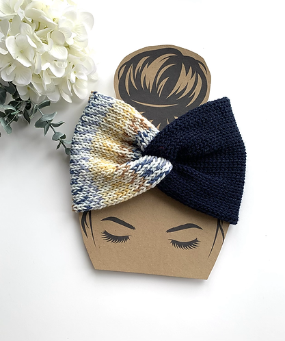 Adult headband in navy mix colours