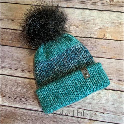 Stripe mix bobble hat with faux fur pompom