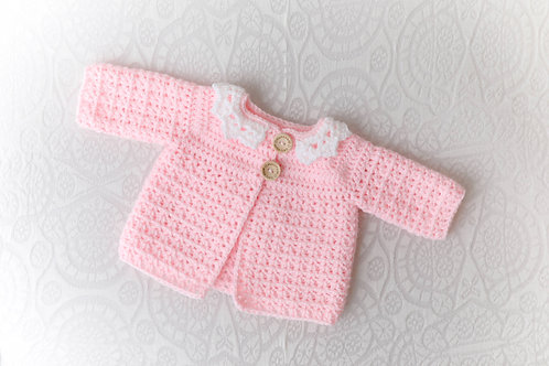 Baby Pink Crocheted Cardigan with White Collar
