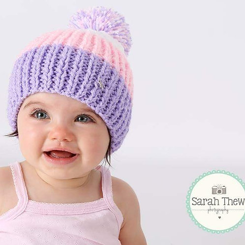 Lilac, Pink and White Bobble Hat