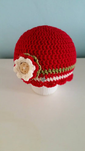 crocheted beanie in cherry, olive and cream