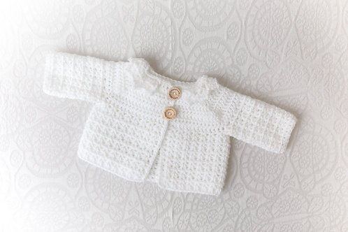 White Crocheted Cardigan with White Collar