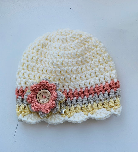 Peach, straw, stone and cream beanie