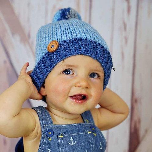 Denim, Blue and Grey Bobble Hat