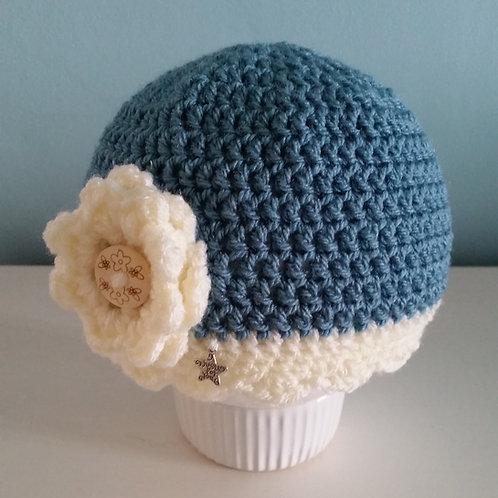 Teal Crocheted Beanie with Cream trim