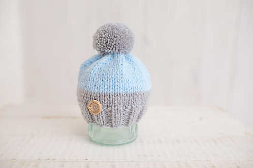 Blue and grey cupcake hat