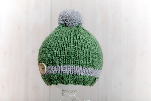Forest with grey stripe bobble hat