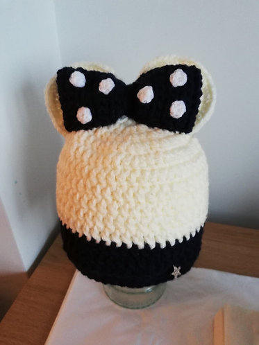 Navy and Cream Minnie Mouse inspired hat