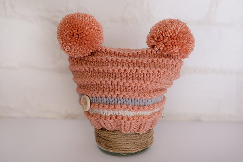 Antique peach double pompom with grey and cream stripe
