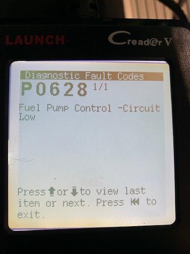 Lotus Exige fault code P0628 fuel pump control