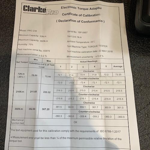 Caterham 7 Blog Clarke Pro Digital Torque Adapter PRO238