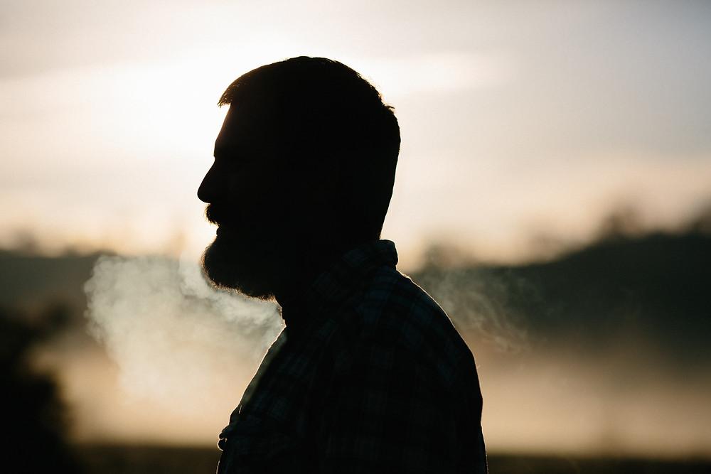 Man breathing in winter.