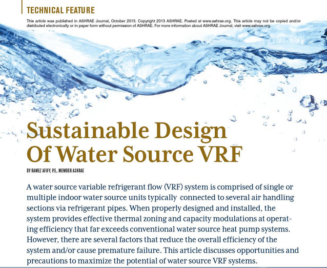 Sustainable Design of Water Source VRF Systems
