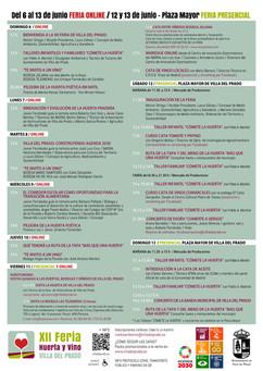 Programación Feria Huerta y Vino Villa del Prado 2021 #Agenda2030
