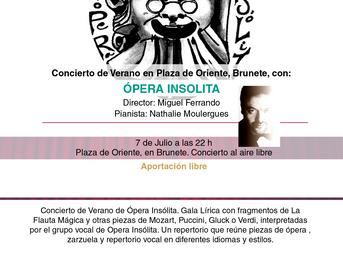 7 de Julio. Ópera Insólita, la compañía de Miguel Ferrando, nos ofrecerá un concierto al aire libre