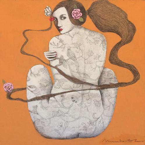 """""""Mujer con flor en pelo"""" de Menchu Uroz"""