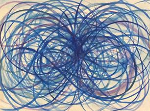 "Shane Guffogg, At the Still Point, (blue)Ink on paper H: 12 xW: 9"" (30 x 22 cm)"
