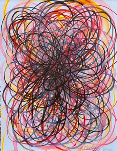Shane Guffogg, At the Still Point (pink), 2020, ink on paper, H: 15 x 11 in. (38 x 27 cm)