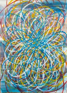 Shane Guffogg, At the Still Point (aqua), 2020, ink on paper, H: 15 x 11 in. (38 x 27 cm)
