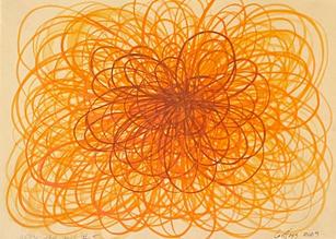 Shane Guffogg, At the Still Point #5, (yellow - orange)   Ink on paper16.5 x 11.5 in. (49.1 x 29 cm)