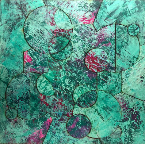 Half Asleep with Atomic Bombs 2020 Acrylic On Reconstructed Board 70x70cm