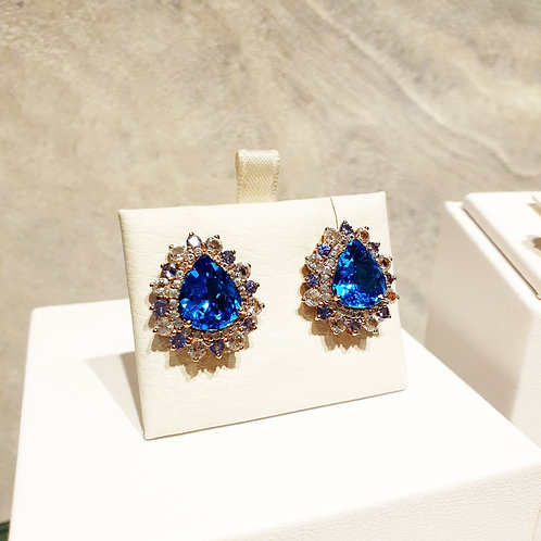 Dorothy Swiss blue topaz earrings