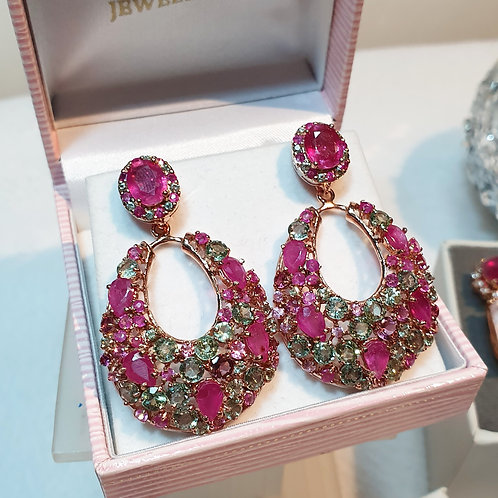 Ruby and green sapphire detachable ear-pendants rose gold tone