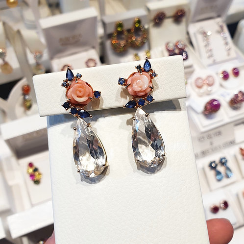 Blooming coral with blue sapphires and white topaz