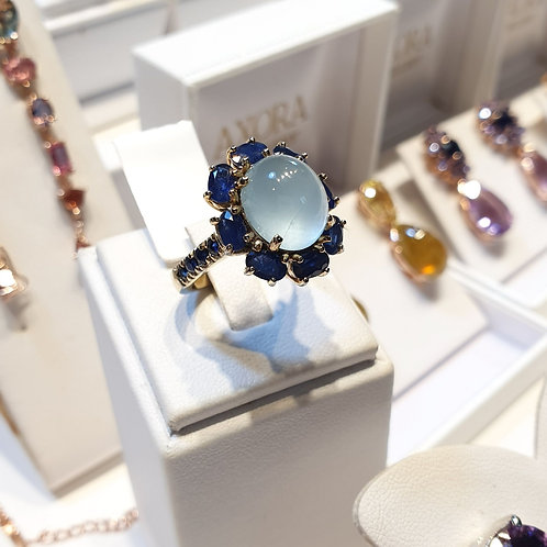 Bloom Aquamaring and blue sapphire ring in gold finished silver