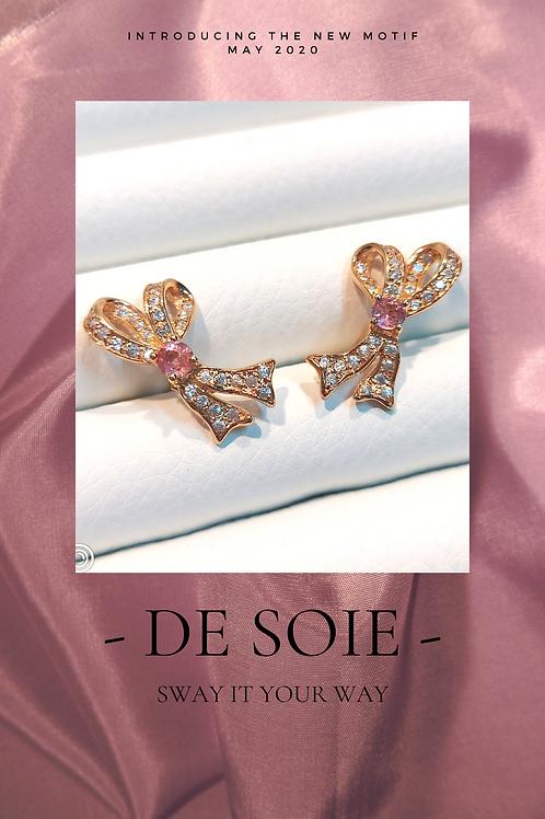 De Soie Ribbon rose gold tone silver earrings