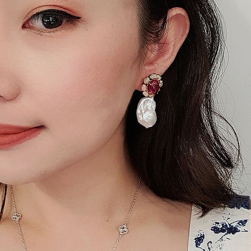 Bloom earrings - ruby and opal with baroque pearls
