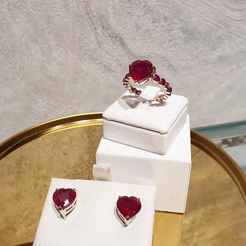 Heart shape natural Ruby set