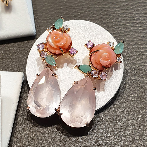 Blooming coral with emerald pink sapphire and detachable rose quartz pendants