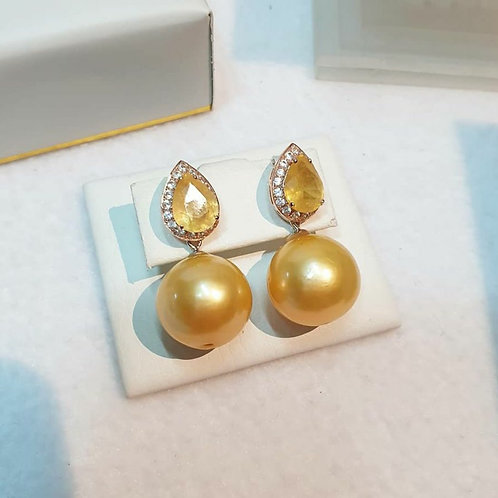 Yellow sapphire and round natural golden pearls