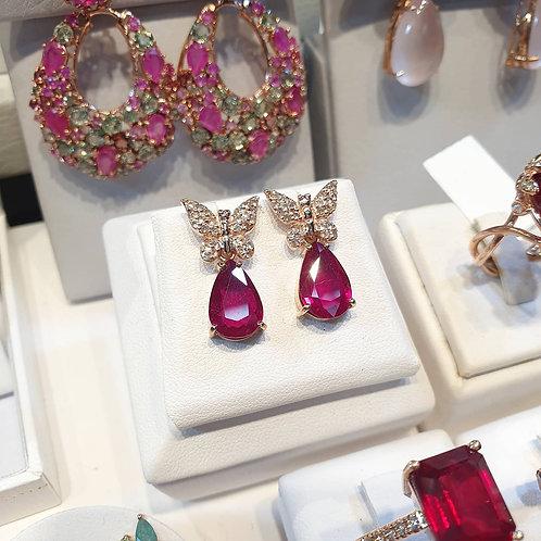 Butterflies and pear shape ruby earrings