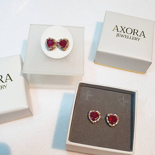 Ruby heart studs with sapphires in rose gold finished silver