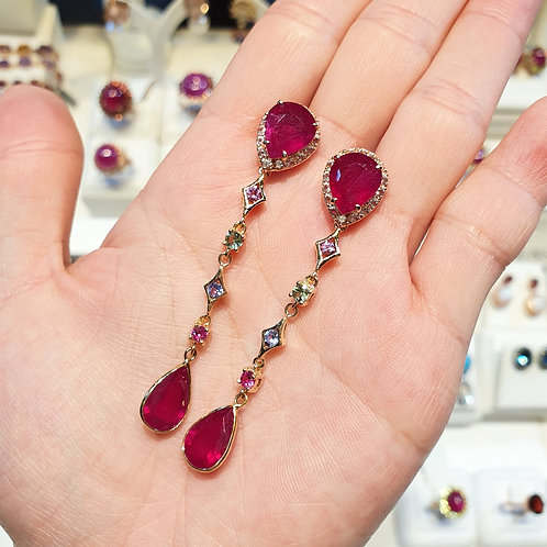 Ruby and sapphires Axora chains (detachable) earrings