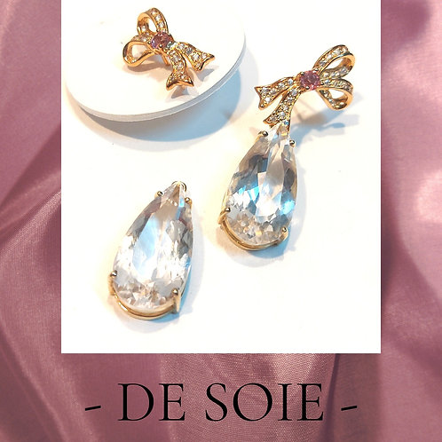 De Soie Ribbon with detachable topaz pear shape drop earrings