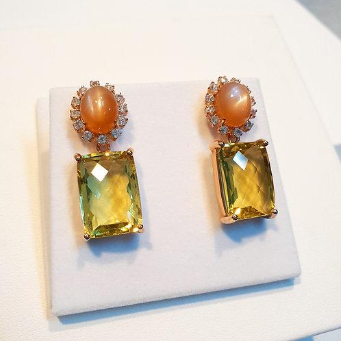 Peach moonstones and lemon quartz cushion drops