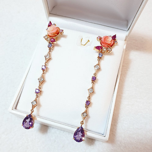 Blooming corals with ruby and Amethyst Axora chains