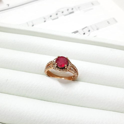 Ruby and white topaz pave ring rose gold tone silver