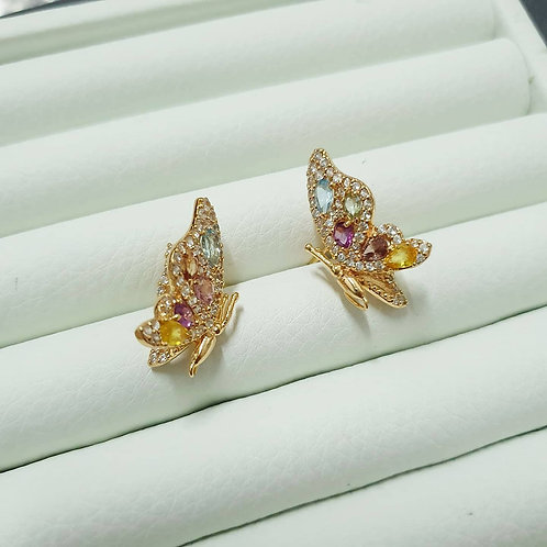 3D Monarch butterflies in cocktail gems and white topaz silver rose gold tone