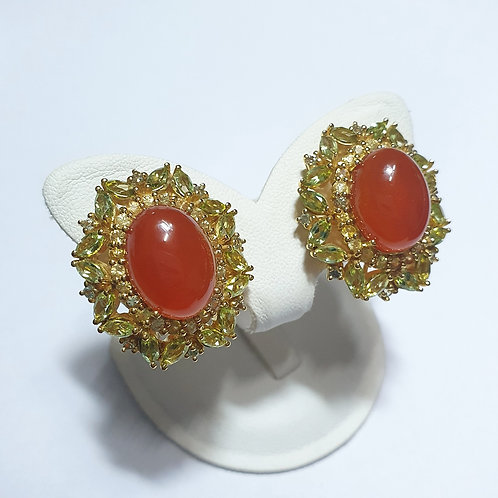 Carnelian and peridot earrings